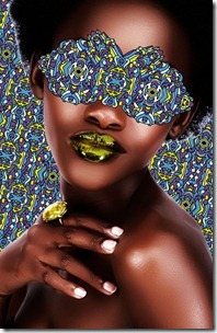 African woman with gold lips.